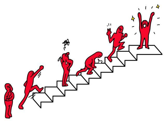 階段を上っている人のイラスト